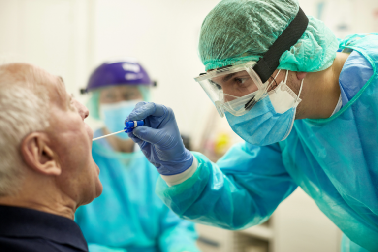 Doctor Taking Throat Swab Test